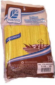 Palitos Para Sorvete Amarelo Pontas Arredondadas 100und Palitex
