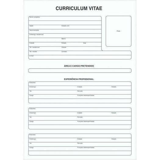 Bloco Curriculum Vitae Fls  Tilibra  Livrarias Curitiba