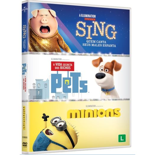 DVD Sing + Pets + Minions (3 DVDs)
