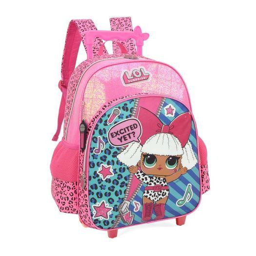d0a0ecd3b Mochila com rodinha LOL surprise na cor rosa com glitter, abertura grande  central para colocar o material escolar e um bolso frontal. dois bolsinhos  na ...