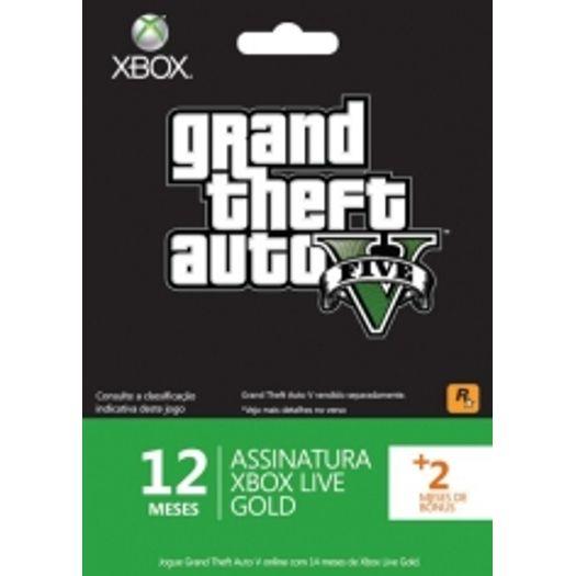 Cartão Xbox Live Gold Gta V 12 Meses + 2 Meses Grátis - Xbox360
